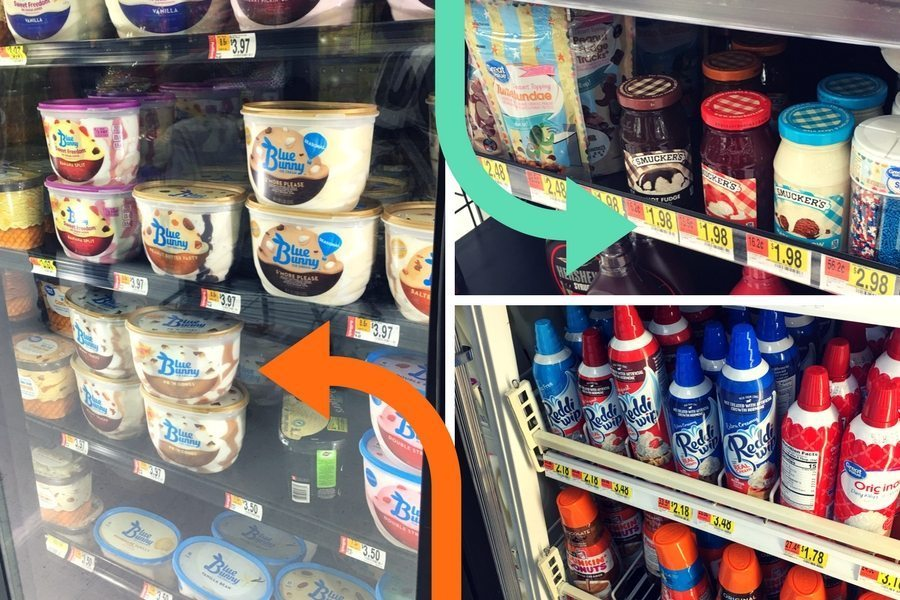 Ice cream sundaes ingredients at the local grocery store