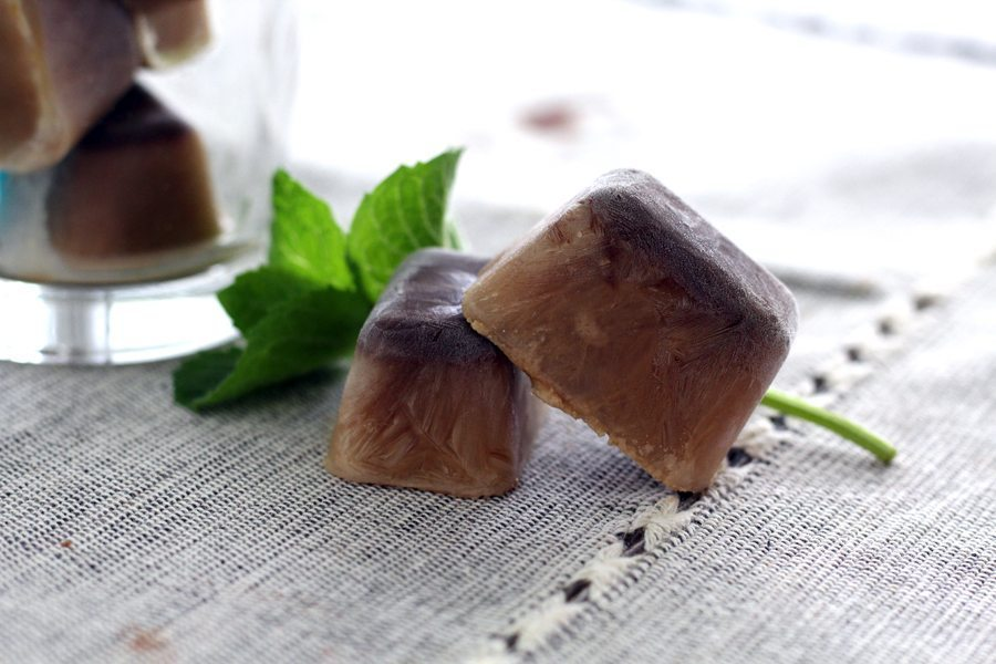 Homemade coffee + chocolate cream ice cubes.