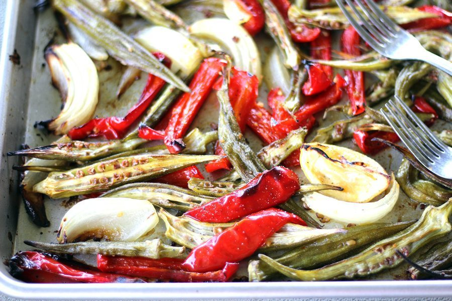 Roasted Okra, Red Peppers and Vidalia Onions