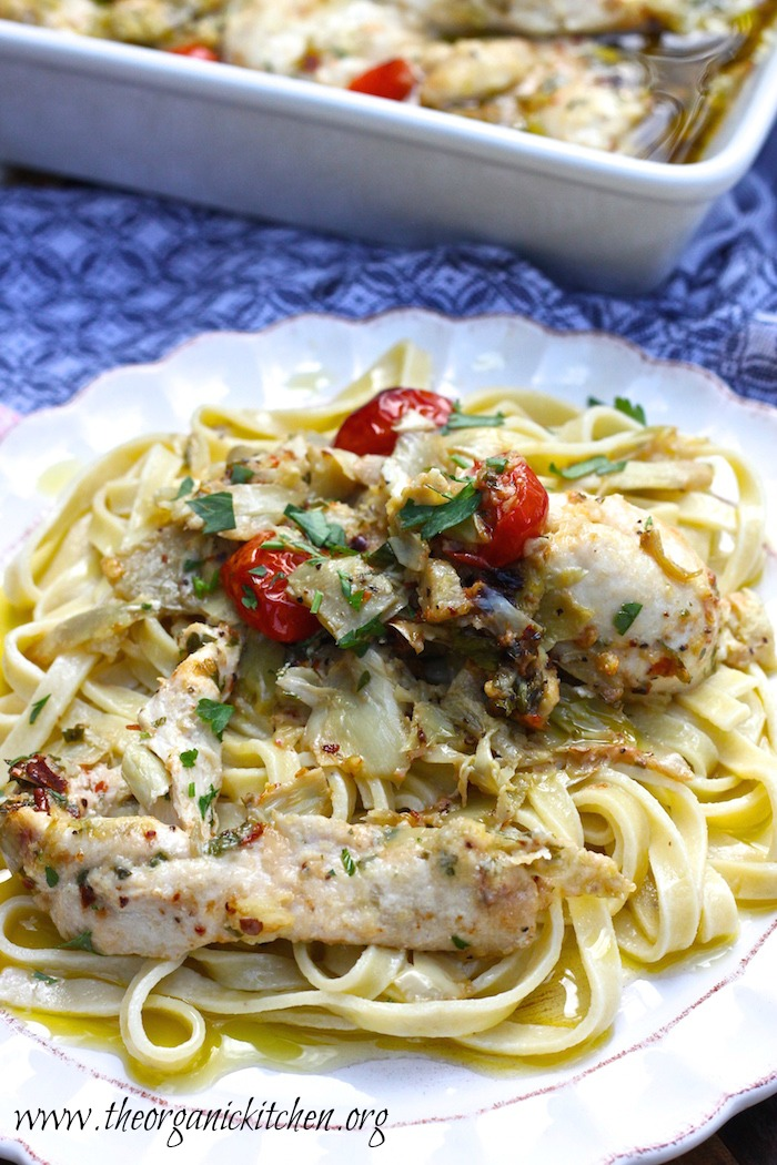Weeknight Dinner Recipes Parmesan and Artichoke Heart Baked Chicken by The Organic Kitchen