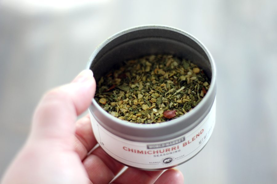 A metal tin container of chimichurri blend dry spice