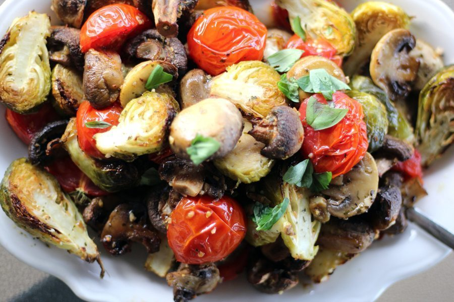 Sheet Pan Brussel Sprouts Recipe with Mushrooms and Tomatoes