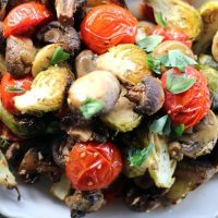 Sheet Pan Brussel Sprouts with Mushrooms & Tomatoes