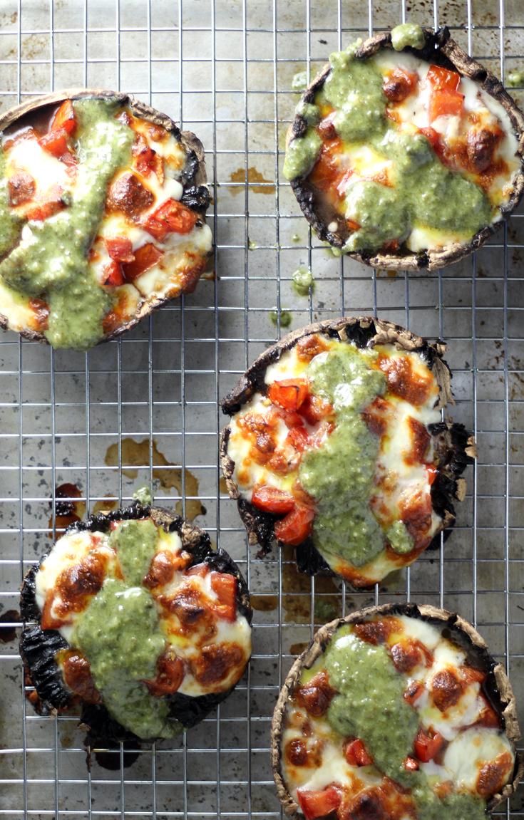 Marinated Tomato + Pesto Portabello Mushrooms