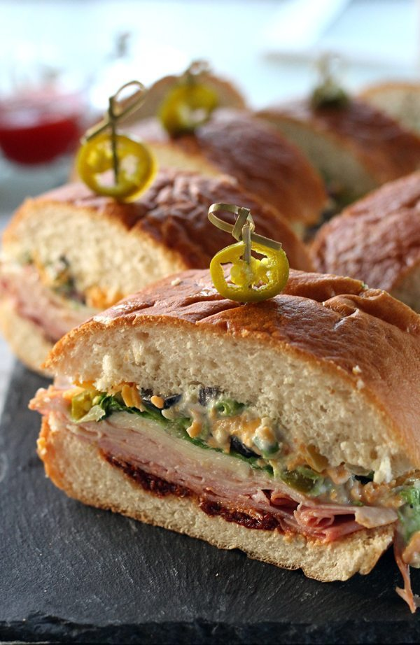 Layered submarine sandwiches with jalepeno
