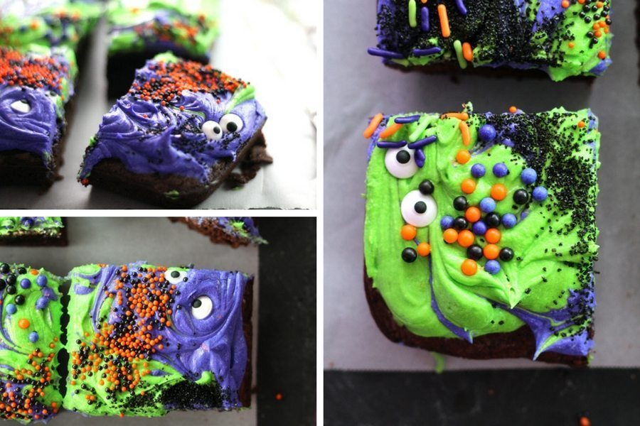 A collage photo showing the different monster faces of the Halloween Brownies