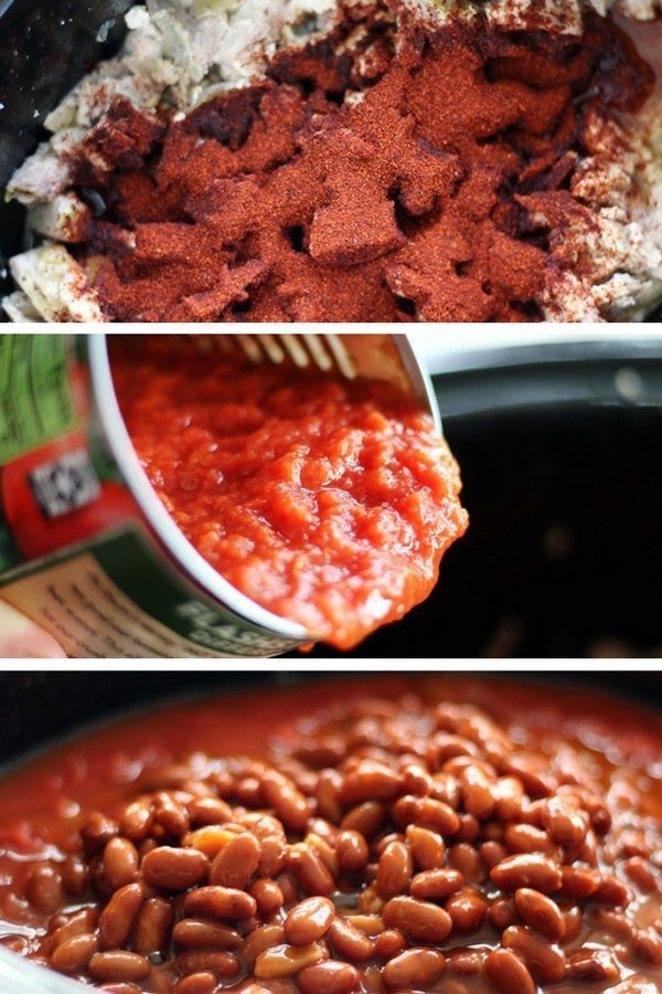 A series of images showing how to make this pulled pork chili, including spices, tomatoes and beans