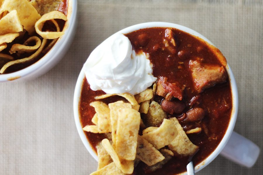Tender chunks of pork slow-simmered in a BBQ spiced chili recipe. Pulled Pork Chili.