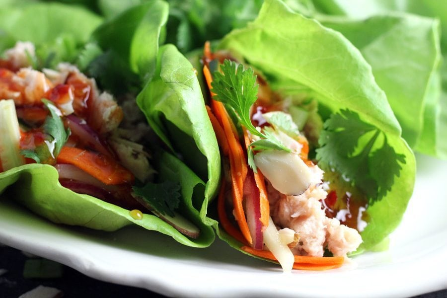 Tuna with a quick pickled mix and tangy Thai sauce wrapped in lettuce