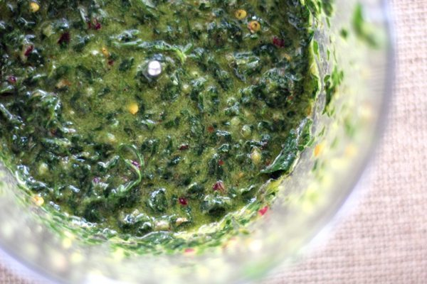Homemade chimichurri sauce in a food processor