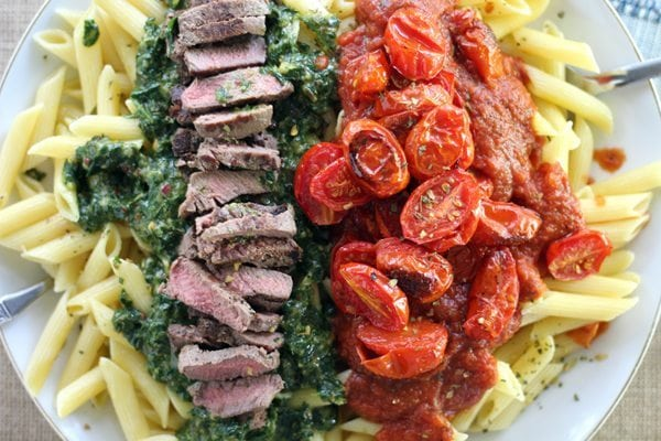 Chimichurri Steak Penne Pasta with Broiled Tomatoes in Marinara