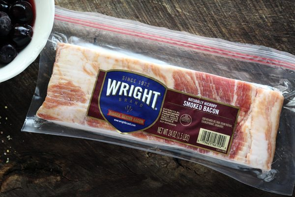 A package of Wright brand bacon