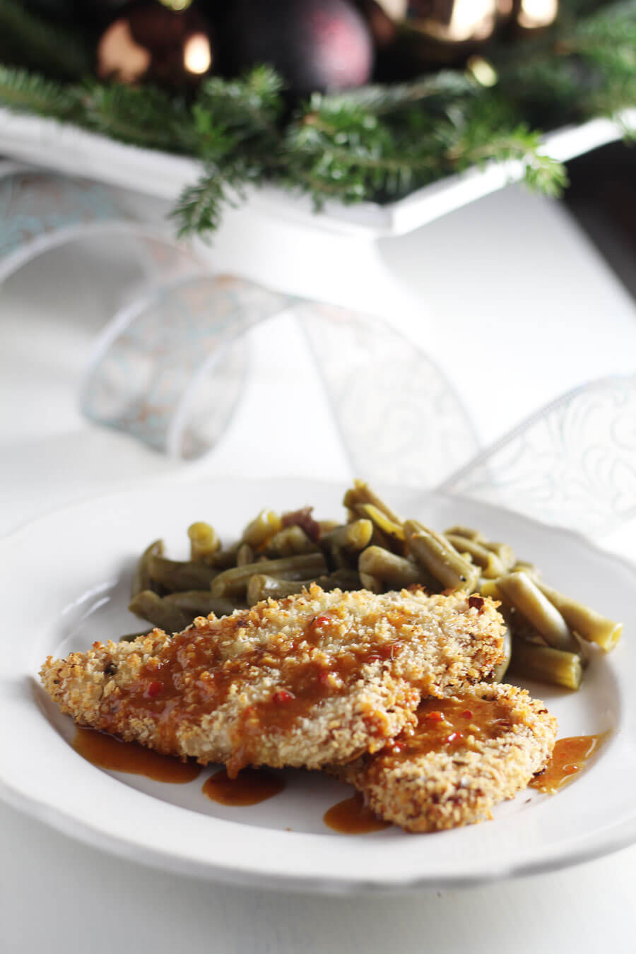 Panko Crusted Turkey Breasts on a white plate