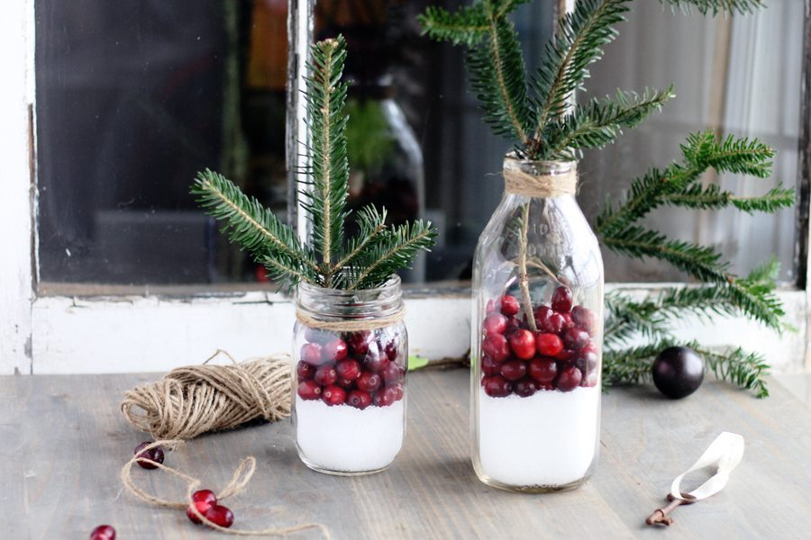 Not sure which one I like best! Cranberry Rustic Christmas Decor in less than 5 minutes.