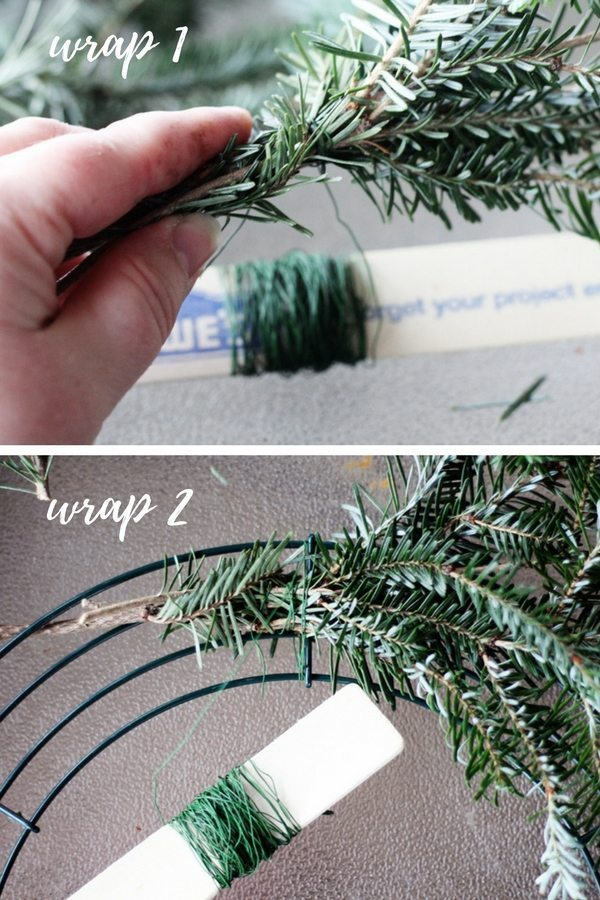 We use a simple two step wrap process to make this Christmas wreath.
