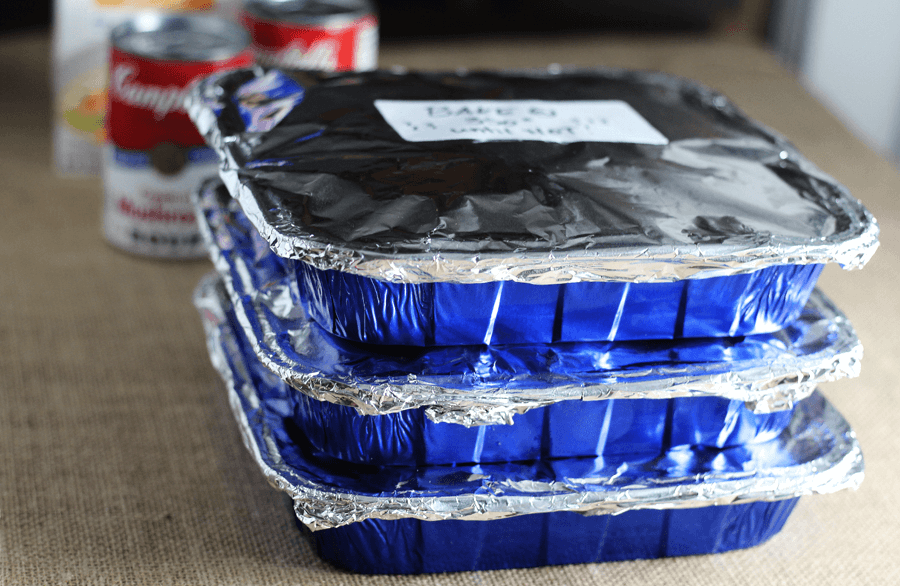 A stack of covered pans
