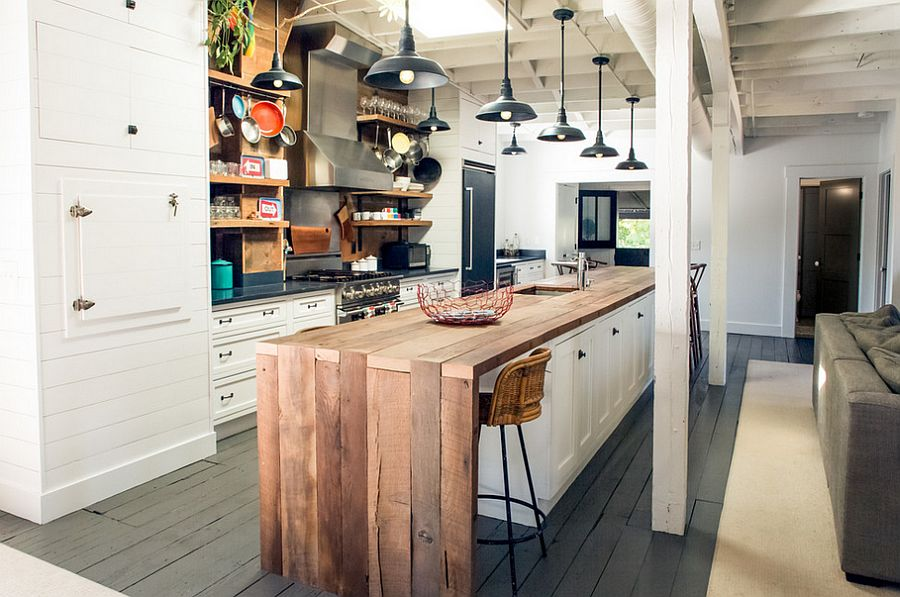 Warm wood on white with tons of storage, kitchen islands.