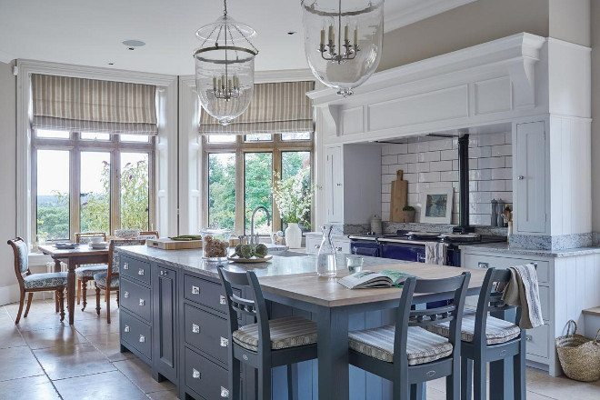 Calm blue with silver handles, one of my favorite kitchen islands.