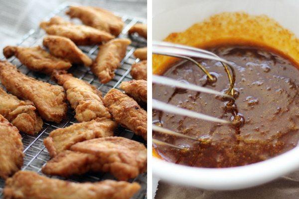 Crispy fried chicken strips tossed in Nashville Hot Chicken sauce.