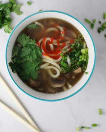 I love udon noodles, especially in this easy homemade ginger soup with green onions and mushrooms.
