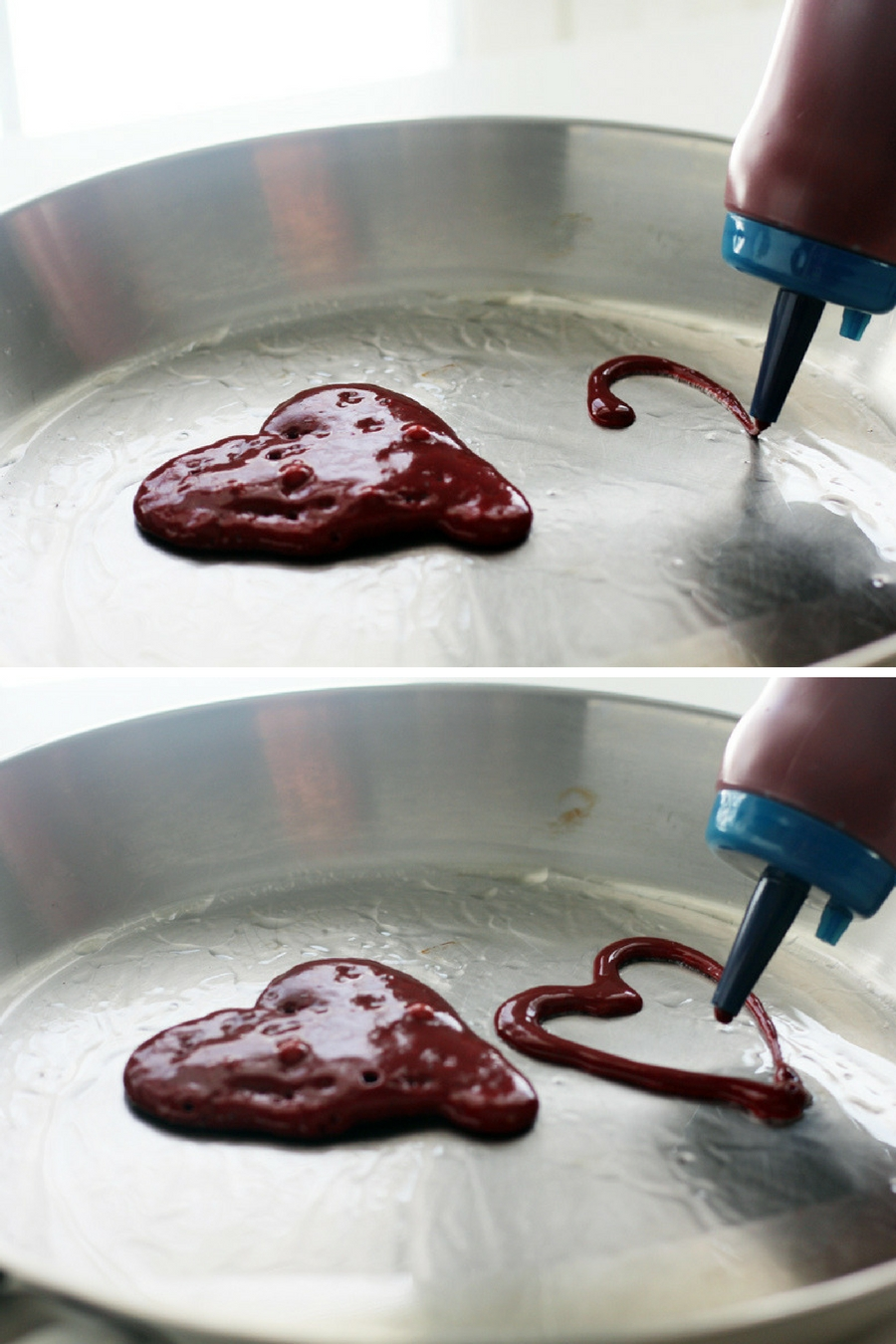 Outline the heart shape, then fill to make these red velvet pancakes.