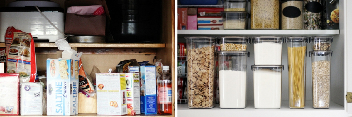 A view of the top shelf of our kitchen pantry.