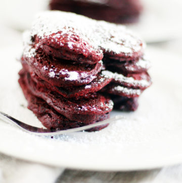 Your loved ones will love you for these heart shaped Red Velvet Pancakes.