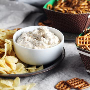 french onion dip, pretzels and chips for snacking