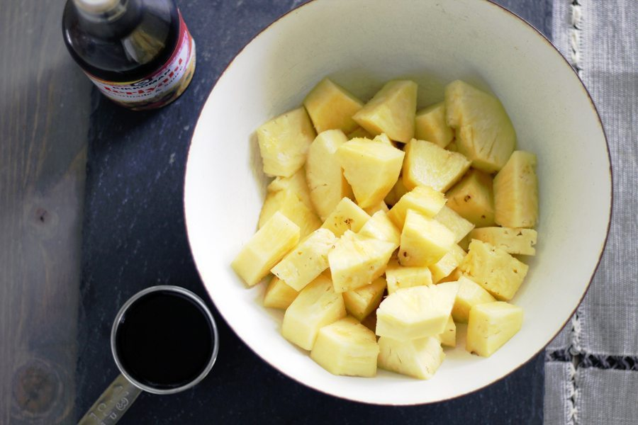 A bowl of fresh pineapple