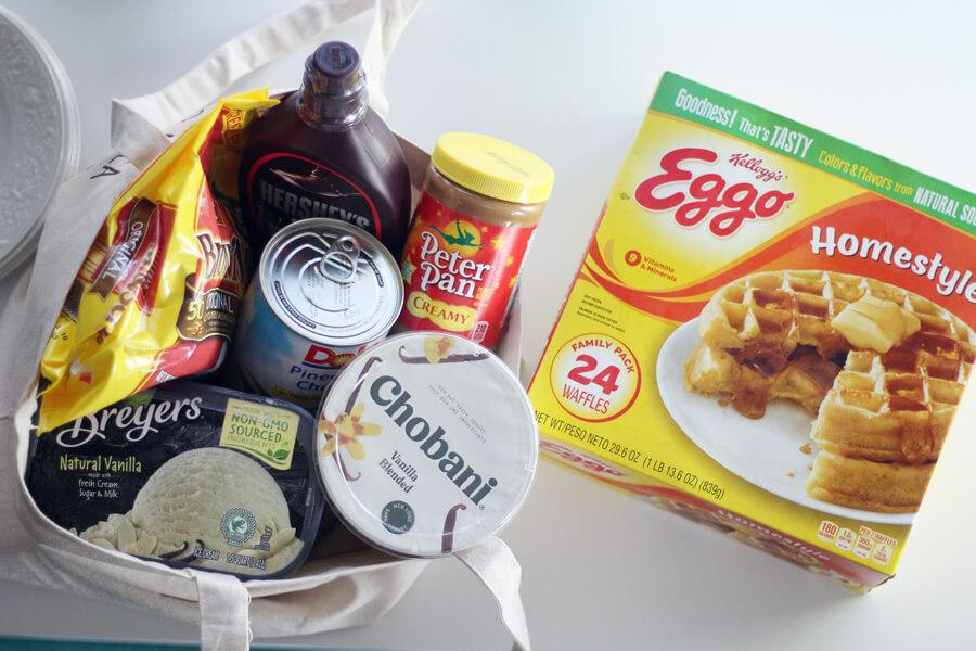 Waffle Bar Birthday Brunch supplies including Eggo waffles