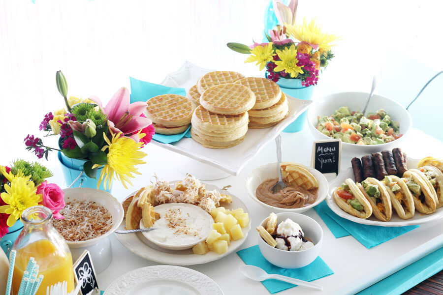 Waffle Bar Birthday Brunch Party Tutorial with 3 Recipes
