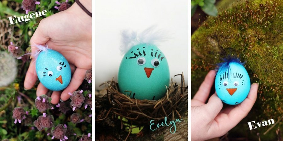 Blue Bird Easter Egg Chicks - Eugene Evelyn Evan