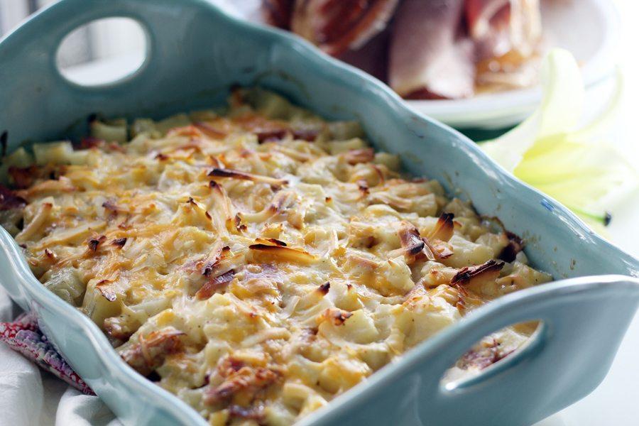 Potato ham casserole in a blue dish