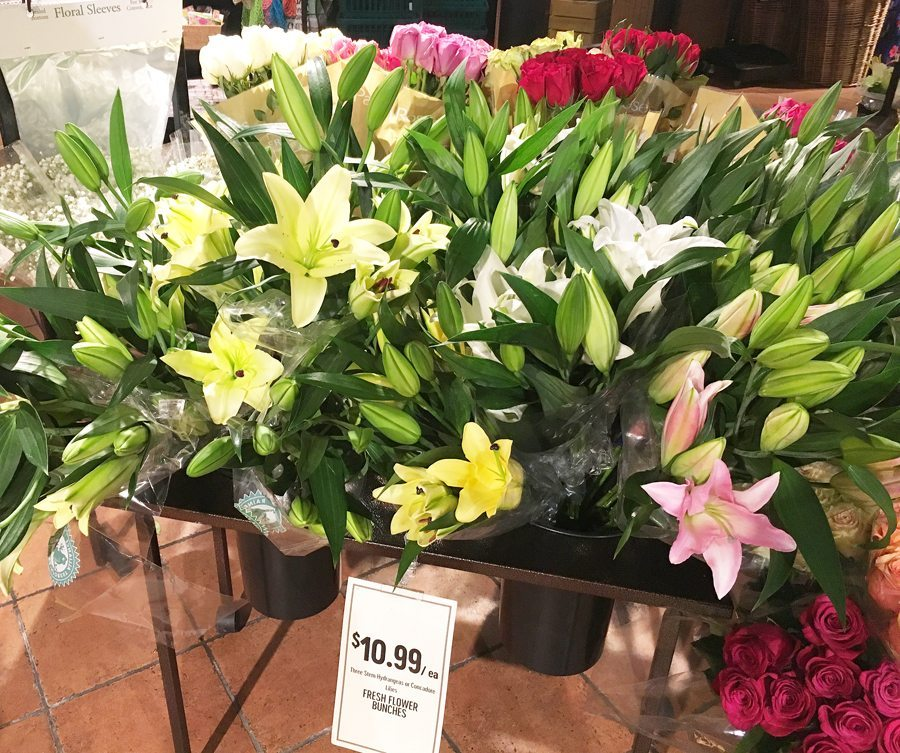 Fresh lillies, tulips and roses in bundles
