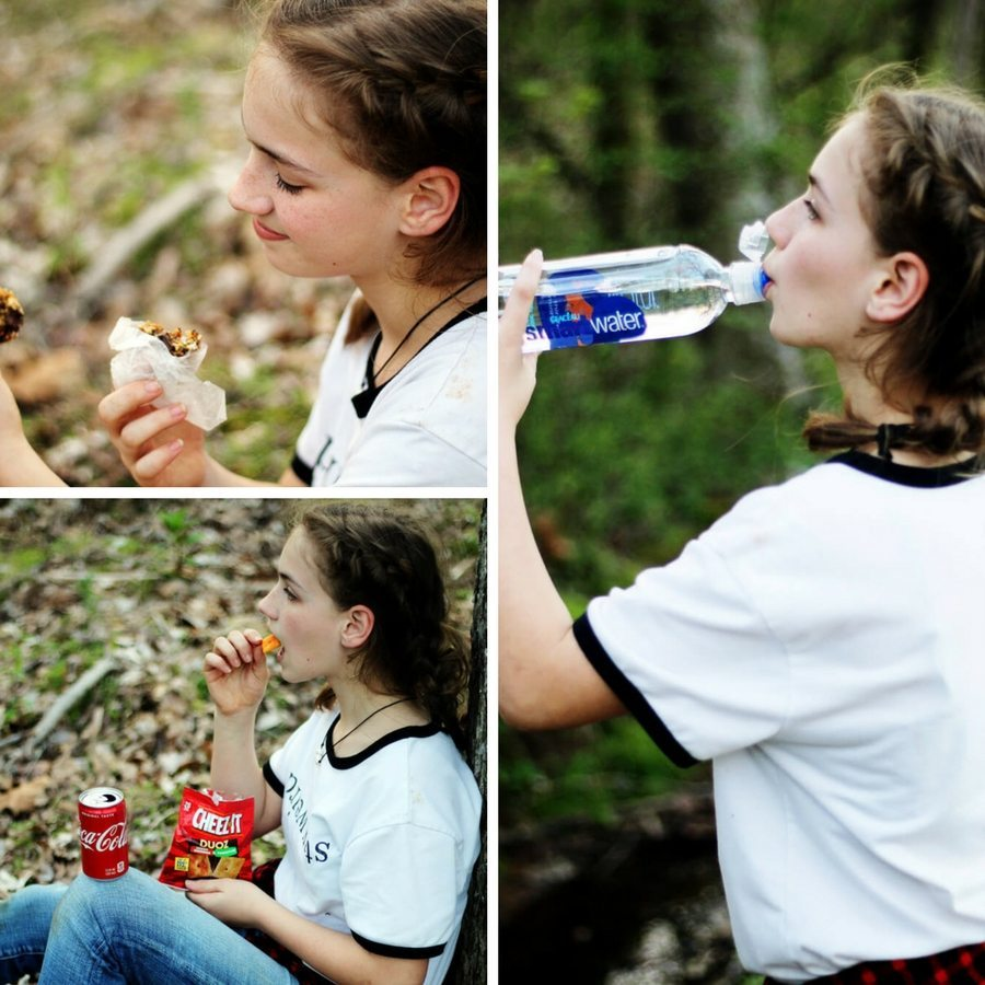 A collage of a young girl drinking water and eating granola bars.