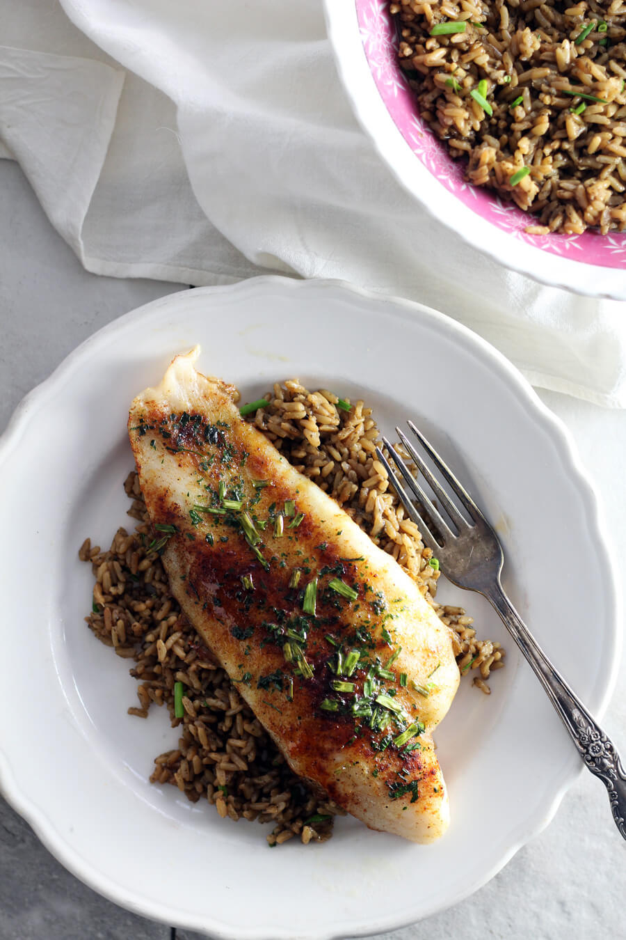 Oven Baked Catfish with Thai Green Curry Rice from Village Harvest