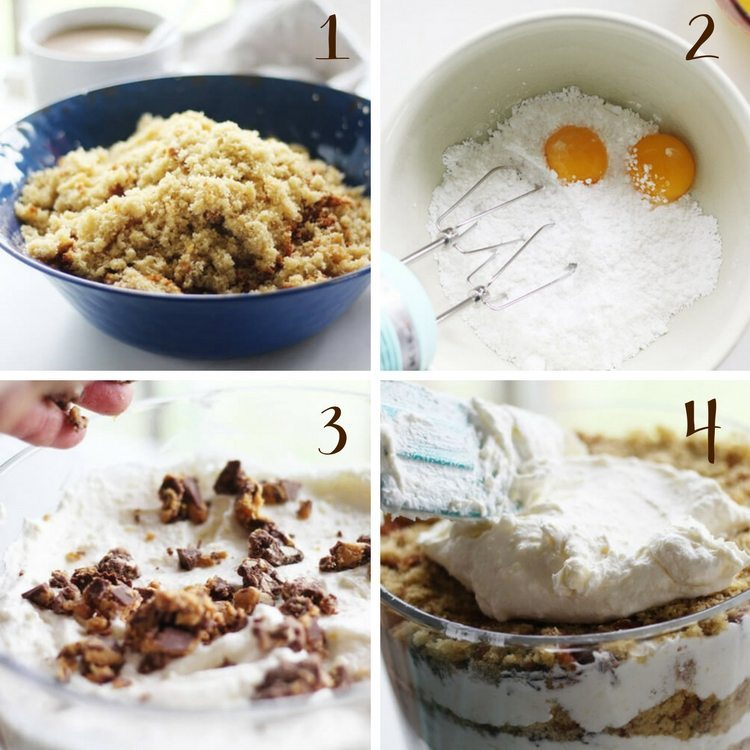 A collage illustrating the step by step method to make punch bowl cake