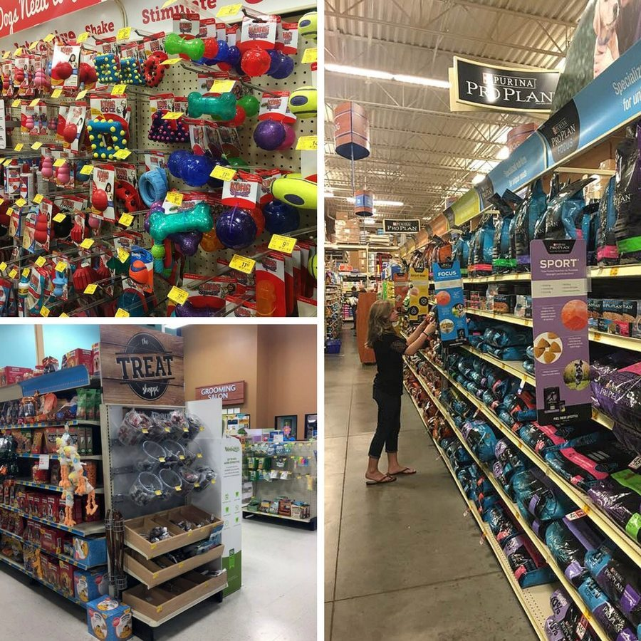 A collage of various shots inside PetSmart