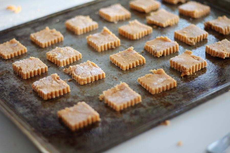 A shot of dog treats on a baking sheet