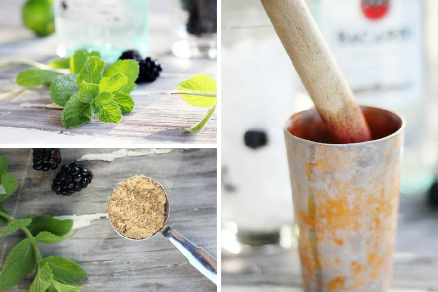 a collage with step by step instructions on making blackberry mojitos