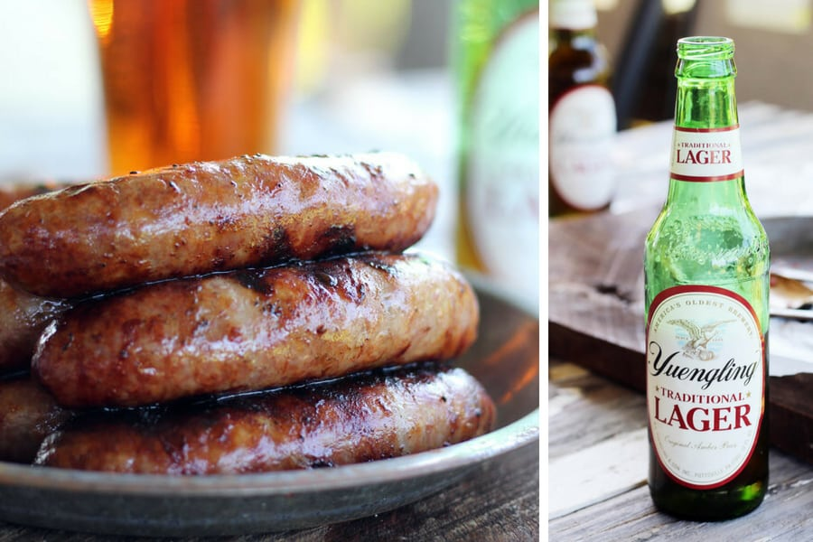 Grilled bratwurst and Yuengling Lager