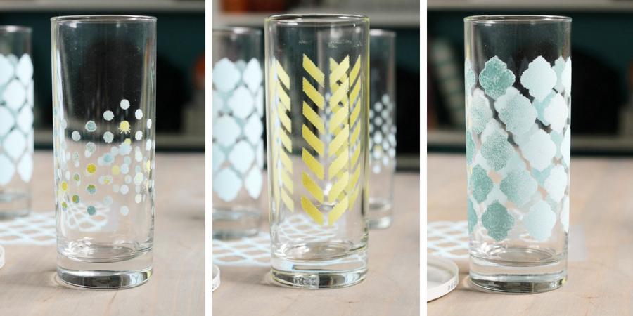 Stenciled Glassware DIY Tutorial