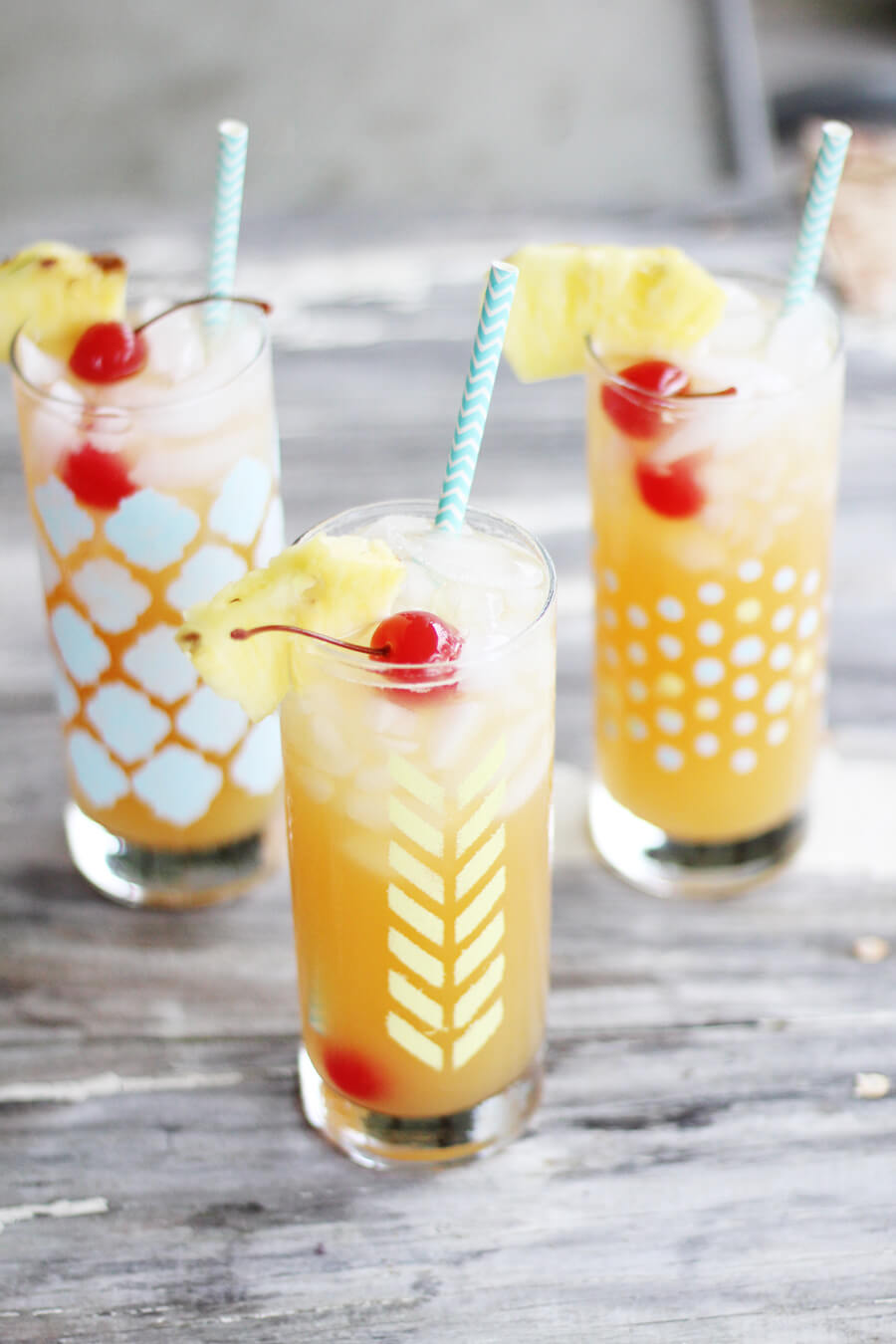Tropical Lemonade Mocktail + Stenciled Glass DIY