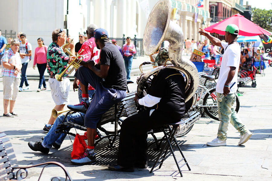 Jazz street performers on Jackson Square in the French Quarter of New Orleans