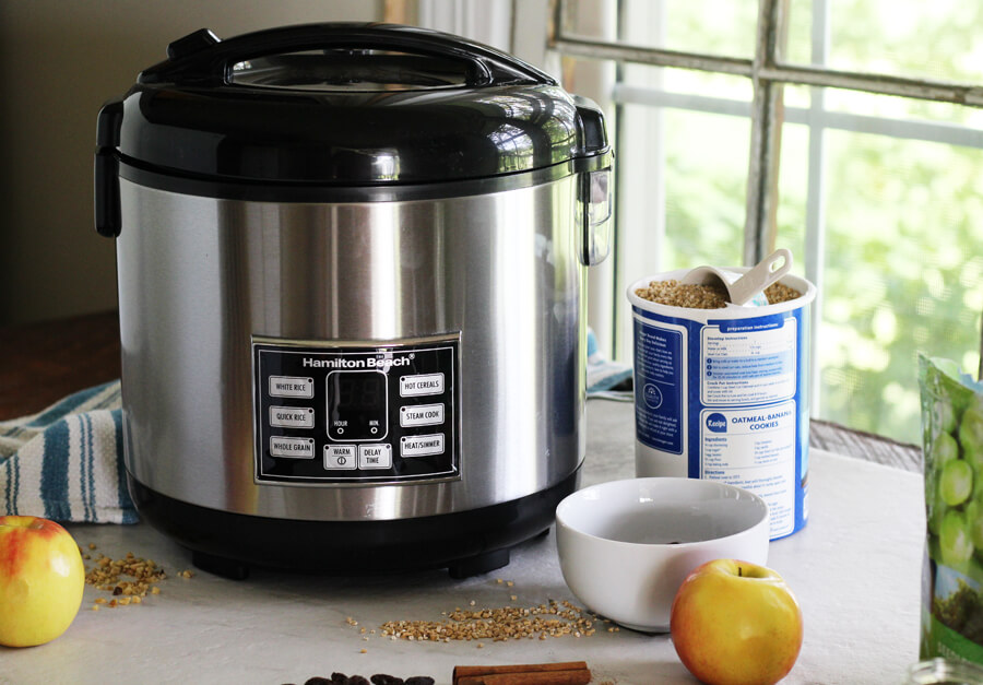 Hamilton Beach Rice Cooker next to ingredients for steel cut oatmeal