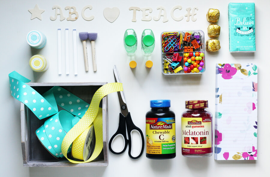 An overhead shot of the supplies needed to make this teachers gift