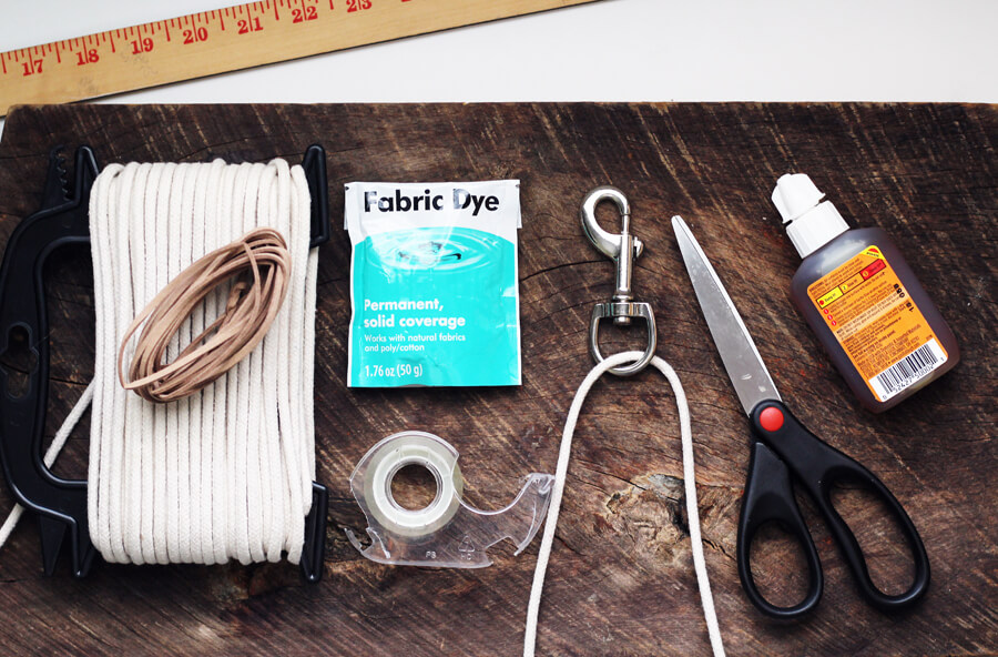 An overhead shot of the supplies needed for this Braided Rope Dog Leash DIY tutorial