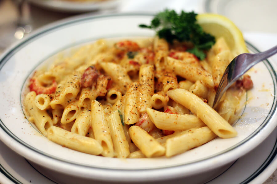Crawfish + Tasso Penne Pasta in cream sauce from The Gumbo House in New Orleans.