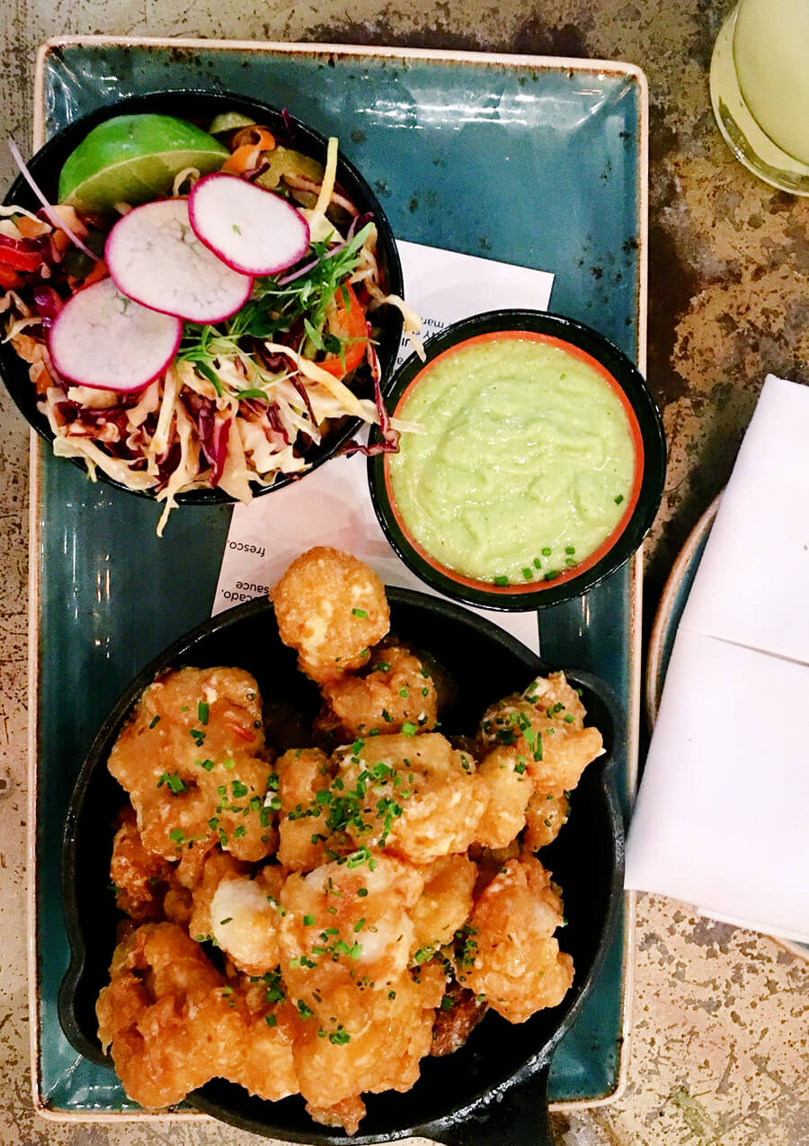 Crispy Shrimp Fajitas with Jicama Slaw and Tomatillo Avocado Salsa at Johnny Sanchez in New Orleans