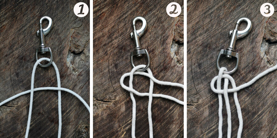 A step-by-step picture of how to braid the cotton rope dog leash